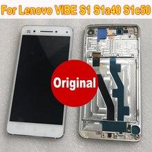 オリジナル新最高作業ガラスセンサー Lcd ディスプレイタッチパネル画面デジタイザアセンブリ + フレームレノボ Vibe S1 S1a40 s1c50
