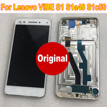 Original Novo Melhor Trabalho Sensor Display LCD Montagem Digitador Da Tela de Painel de Toque de Vidro + Quadro Para Lenovo VIBE S1 S1a40 s1c50