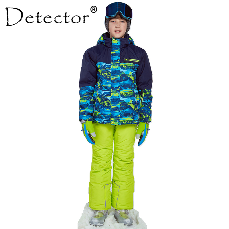 Detector Winter Ski Snowboard Suit Thicken Boys Clothing Outdoor Set Jacket Pants Winter Twinset Suitable -20-30 degree printed jacket and pocket design pants twinset