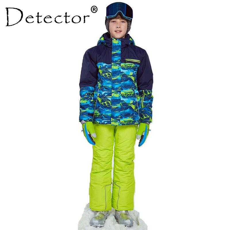 Rivelatore Vestito Addensare Vesti per Ragazzi Set All'aperto Giacca Da Sci Dello Snowboard Invernale Pantaloni di Inverno Twinset Adatto-20-30 gradi
