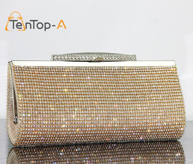 TenTop-A Factory Selling Good Quality Women Full Diamond Clutch Evening Bag Luxury Rhinestone Bling Wedding Bridal Shoulder Bags