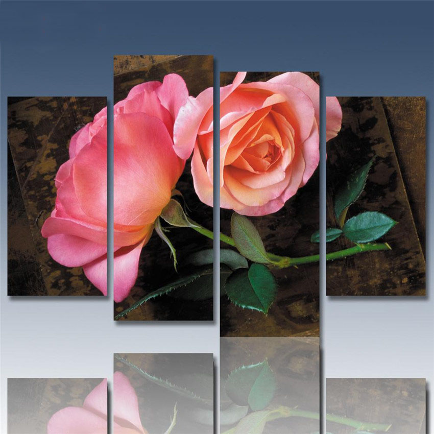 Hot Sale Blooming Pink Rose Canvas Painting Modern Flower Printed On Canvas Cuadros Abstractos 2017 Wall Pictures For Home Decor