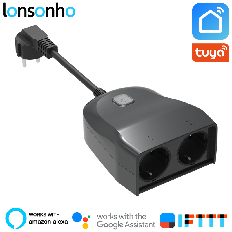 Lonsonho Outdoor IP44 Waterproof Wifi Smart Socket Eu Plug 2 Outlets Wireless Remote Control Works With Alexa Google Home-in Smart Power Socket Plug from Consumer Electronics