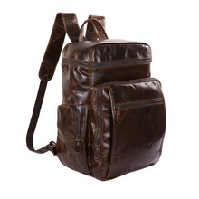 JMD  Genuine Leather Coffee Men's Backpacks Tote Designs Large Travel Bag Man # 7202C