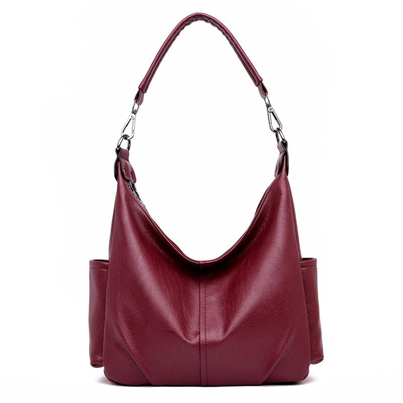 Large Genuine Leather Hobos Bag Red Shoulder Bags For Women Tote Bag Luxury Designer Lady Handbag Pockets Sac Femme