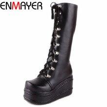 ENMAYER/новая обувь в байкерском стиле обувь в готическом стиле в стиле панк сапоги для костюмированной вечеринки пикантные зимние сапоги до колена на высоком каблуке и платформе, на молнии, на танкетке