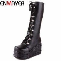 ENMAYER New 2015 Gothic Punk Shoes Cosplay Boots Knee High Heel Platform Sexy Zip Winter Wedges