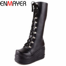 ENMAYER ShoesNew Motorcycle Boots Gothic Punk Shoes Cosplay Boots Knee High Heel Platform Sexy Zip Winter Wedges Knee High Boots(China)
