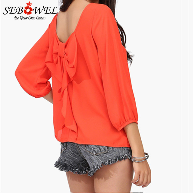 7cac714413 SEBOWEL 2019 Spring Autumn Female Blouse Plus Size 5xl 6XL Behind Tassel  Bow Chiffon Long Sleeve Shirt Women's Ladies Sweet Tops
