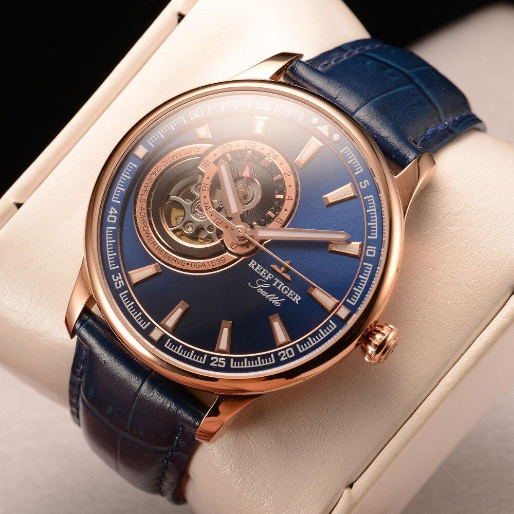 리프 타이거/rt 드레스 남자 시계 블루 뚜르 비옹 시계 톱 브랜드 럭셔리 자동 기계식 시계 relogio masculino rga1639-에서기계식 시계부터 시계 의  그룹 1
