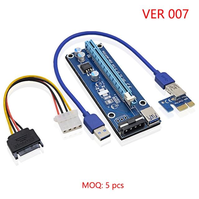 USB 3.0 pci-e PCI Express 1X к 16x Extender Riser Card Мощность кабель 60 см PCIe добыча карты адаптера для bitcoin Ver 007 wk01