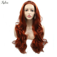 Sylvia 360# Copper Red/Dark Orange Wig Loose Wave Natural Hairline Long Synthetic Hair Handmade Lace Front Wigs for Women Ladies