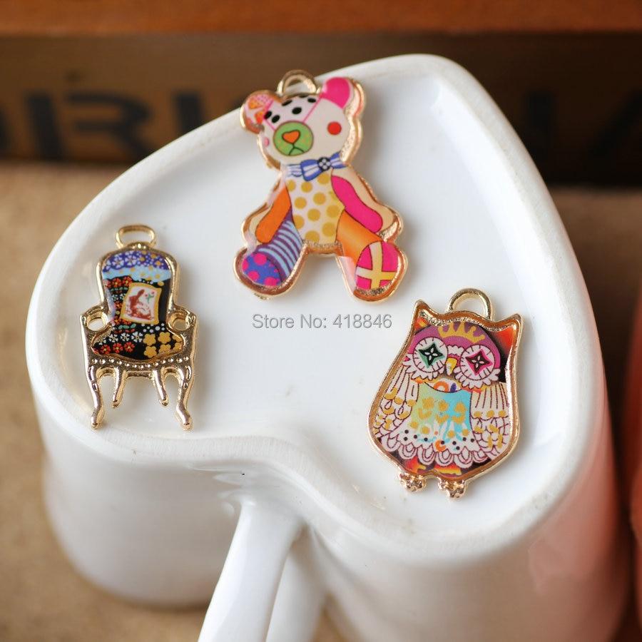 Bonito Gatito Aceite de gota de color de 4 colgante de la aleación joyería accesorios 12*10mm 40 un.