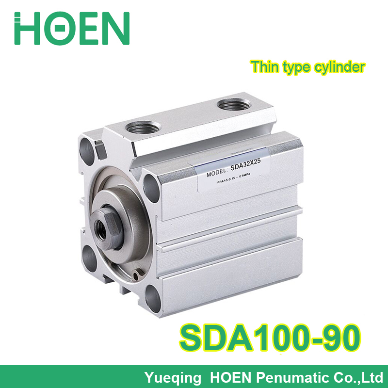 SDA100-90 Airtac type SDA series 3/8 Port Size 100mm Bore 90mm Stroke Pneumatic Compact Cylinder SDA100*90 with high quality bore size 32mm 5mm stroke sda pneumatic cylinder double action with magnet sda 32 10