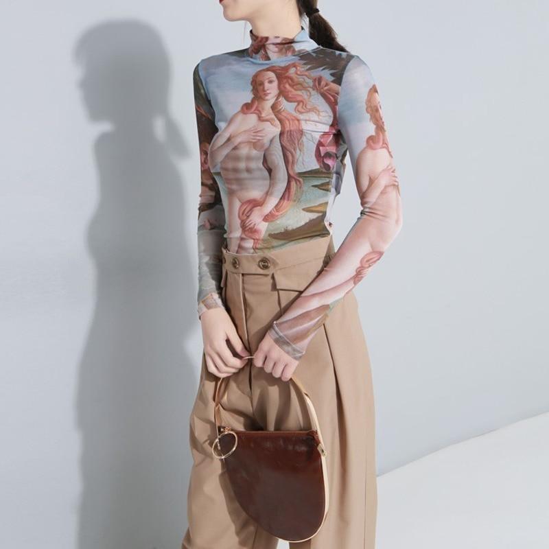 OLOEY2018 nuevo cuello alto de manga completa tatuaje la perspectiva de la lona pintura al óleo ropa salvaje Delgado Sexy Retro camiseta Tops H827