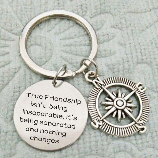 Best Friend Gift Compass True Friendship Long Distance Keychain