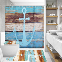 Bathroom Non slip Mat Set Lid 4Pcs Toilet Cover Pedestal Mat Bath Shower Curtain Polyester Machine Washable for Living Bed Room