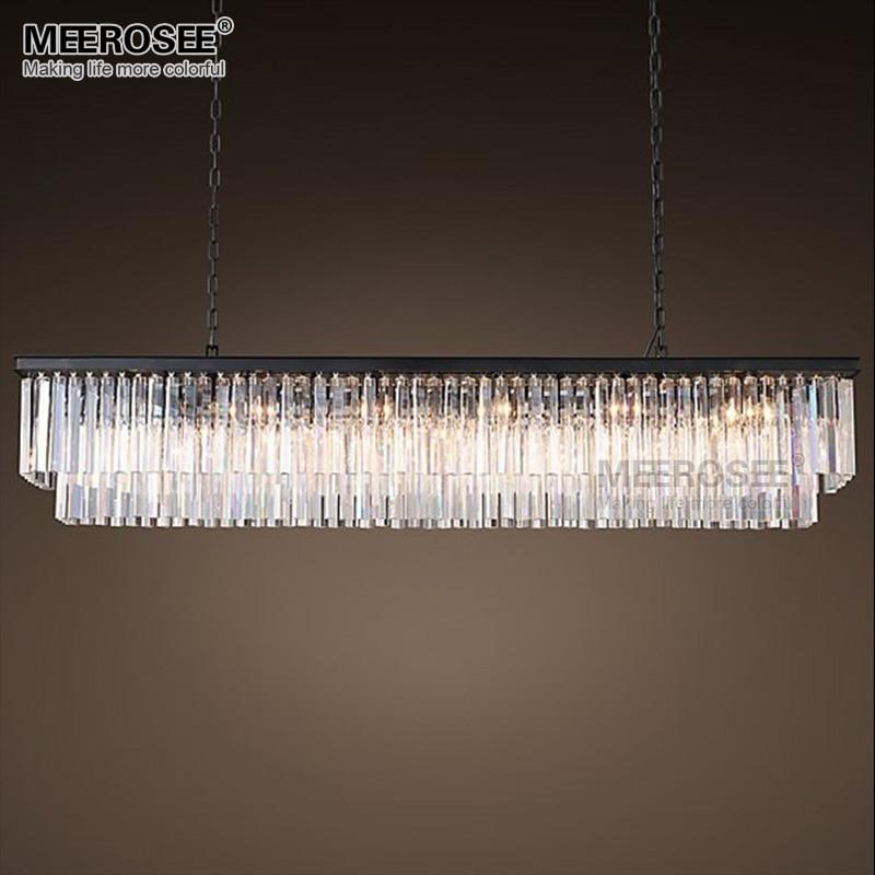 Modern Crystal Pendant Light Rectangle Suspension Light Fixture For Living room Dining room Hotel Project Illumination