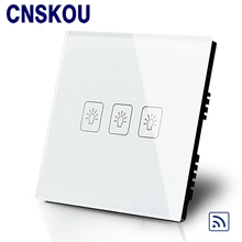 Free Shipping UK Standard SANKOU 3Gang1Way Black Remote Touch Switches Smart Home Wall Light Switch AC110-250V