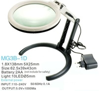 10 LED Desktop Magnifying Glass Lamp With 2AA Batteries Or External Plug Charger 110V 240V For