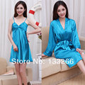 2017 New Summer sexy  women spaghetti strap nightgown sleepwear twinset silk robe at home service set