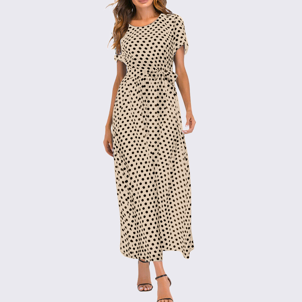 HTB1Cy5SaxiH3KVjSZPfq6xBiVXav - Summer Dress Women O-Neck Short Sleeve Boho Polka Dot Bandage Maxi Long Dress Women Beach Sundress Plus Size Vestidos