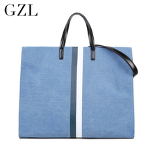 GZL 6 color Shopping Bag Canvas Shoulder stripe handbag brand women bag Large Capacity Tote 2016 New Fashion HB0004