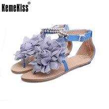 Gladiateur sandales pour femmes bohême perlé d'été fleur plat talons flip flops femmes chaussures de T-sangles sandales taille 35-43 WC0118