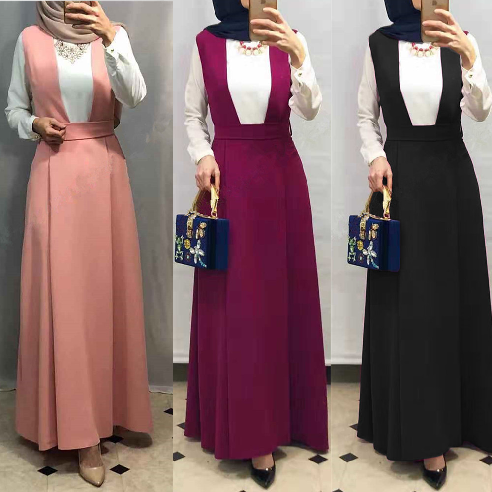 High Waist Slit Back Pencil Skrts Straps Women's Modest Muslim Bottoms Long Midi Skirts Party Ramadan Worship Service Islamic