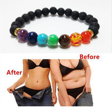 LELX Bless Lose Weight Chakra Bracelet Black Lava Healing Balance Beads Reiki Buddha Prayer Natural Stone Bracelet For Women(China)