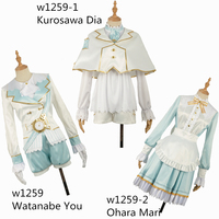 LoveLive!SunShine!! Watanabe You Kurosawa Dia Ohara Mari Wonderland Alice Unawakened Cosplay Costume Satin Dress Bow Sashes