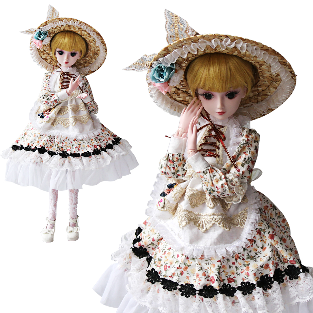UCanaan 60CM Kawaii Loli Dolls 1/3 Beauty BJD Doll 19 Ball Jointed With Full Outfits Makeup Dressup Children Toys Girls SD Doll ucanaan 1 3 bjd dolls beauty sd doll 19 ball jointed with full outfits makeup dressup dolls children toys for girls