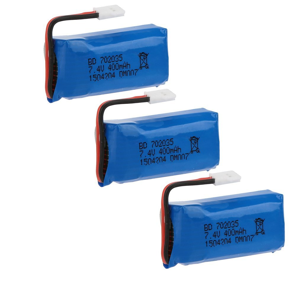 3pcs x RC Part Upgraded <font><b>7.4V</b></font> <font><b>400mAh</b></font> 30C <font><b>Lipo</b></font> <font><b>Battery</b></font> for DM007 RC Quadcopter image