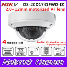 2017 HiK New Released 4MP CMOS Motorized Vari-Focal Network Dome Camera DS-2CD1741FWD-IZ Replace DS-2CD2745F-IZ 2.8~12mm H.264