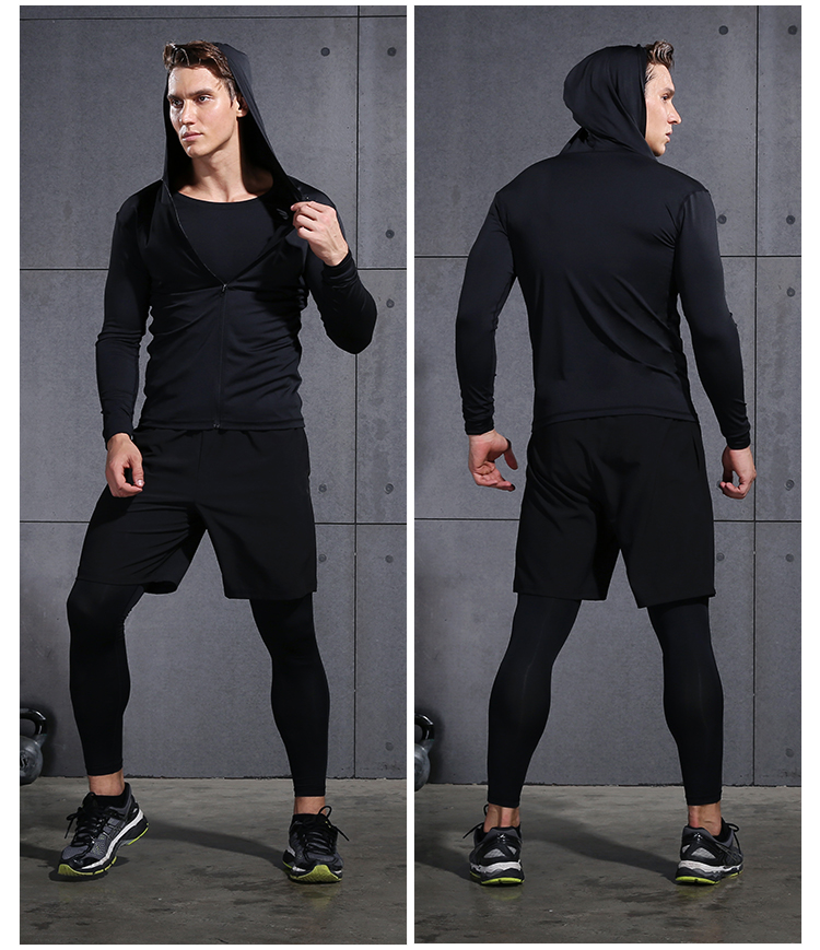 2017 hiver en plein air séchage rapide ensembles de course hommes Compression Sports costumes Jogging basket ball collants vêtements Gym Fitness Sportswear - 4