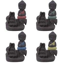 Ceramic Little Monk Smoke Backflow Cone Censer Holder Incense Burner Decoration Home Decor Use In The Office Creative