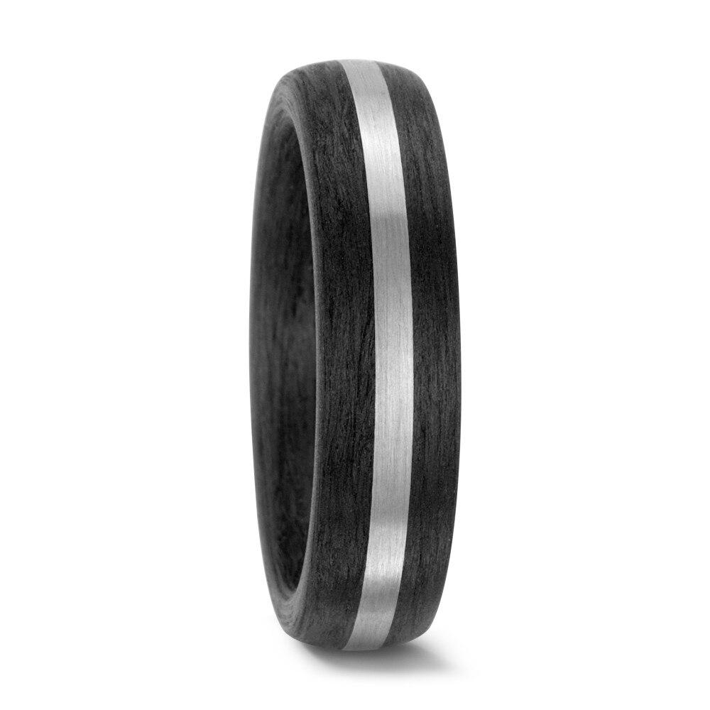 Shardon 6mm Carbon Fiber Inlay Titanium Ring With Matte Finishing Black  Engagement Wedding Band