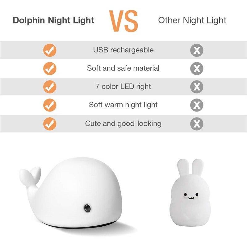 criancas noite brinquedo da lampada luz seguranca silicone golfinho 04