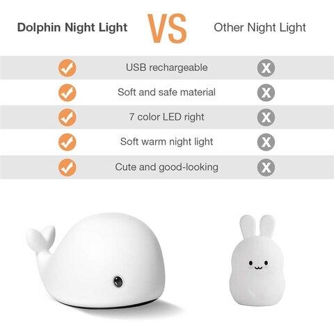 criancas noite brinquedo da lampada luz seguranca silicone golfinho