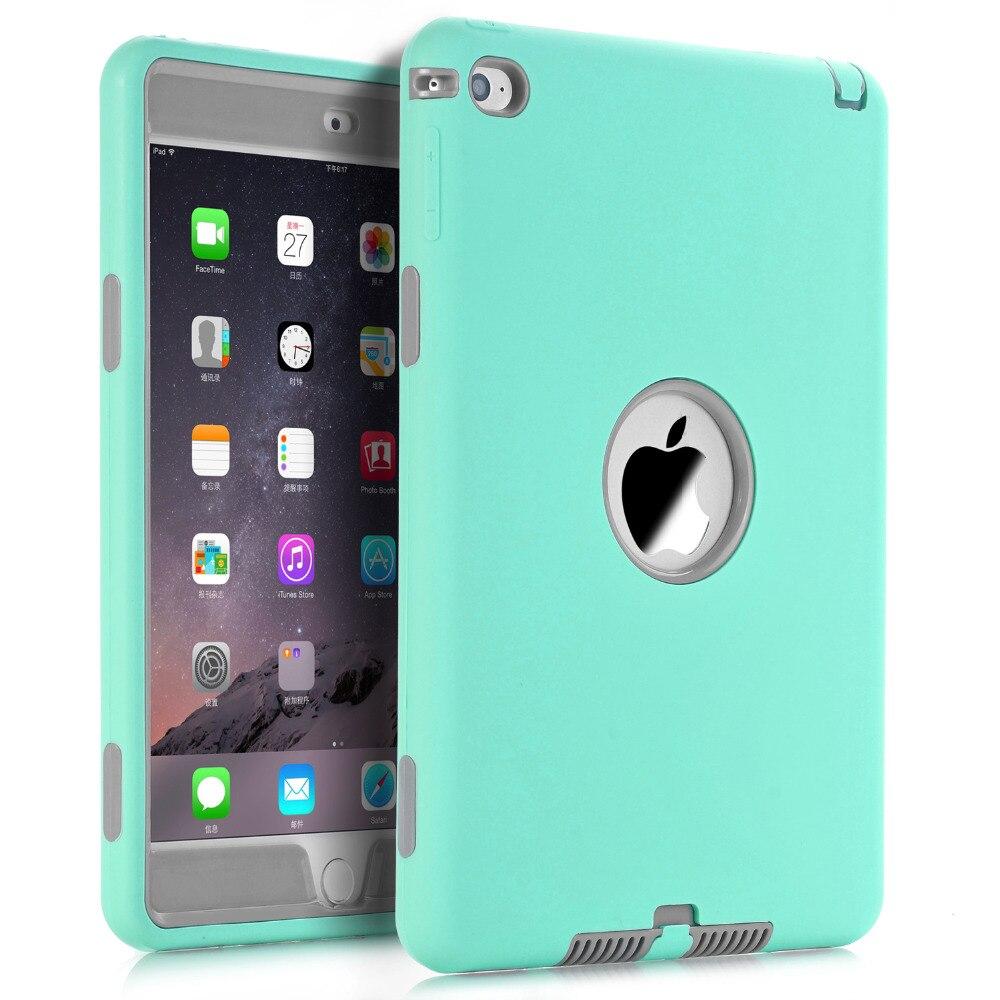 Cas pour iPad mini 4 A1538/A1550 7.9-pouces Retina Cas Kids Safe Antichoc Heavy Duty Souple En Silicone + dur PC Complet Protéger Couvre