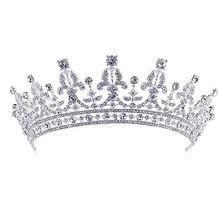 Роскошные Свадебные Кристалл Тиара Коронки Принцесса Королева Pageant Пром Горный Хрусталь Veil Tiara Повязка Свадебные Аксессуары Для Волос