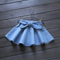 2016 Summer New Super Soft Baby Girl Denim Skirt Children Washed Bow Belt good quality 2-7 years Retail wholesale 1603