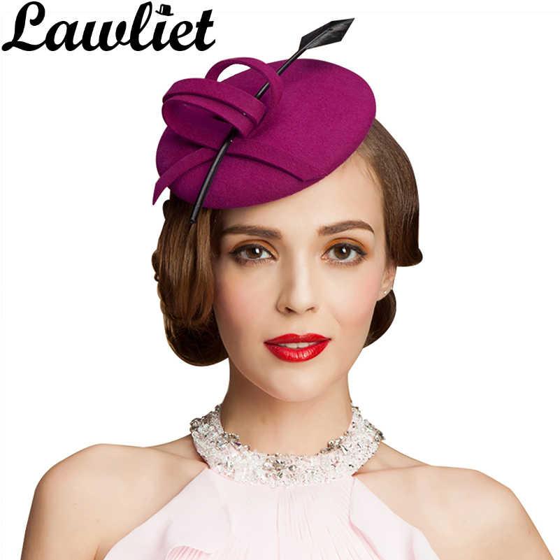 d7adec0b8c625 Womens Ladies Fascinators Hats Feathers 100% Wool Felt Cocktail Formal Tilt  Hats for Party Race