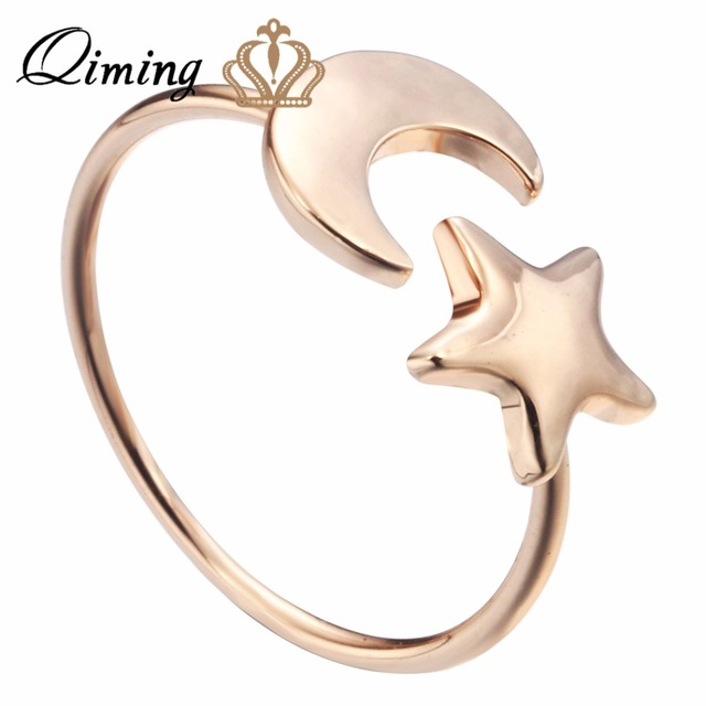 QIMING Crescent Moon Tiny Star Ring Little Korean Jewelry Lovely Luna half moon