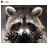 HUACAN Full Diamond Mosaic Cross Stitch Raccoon Handcraft Gift DIY 5D Diamond Painting Embroidery Animal Series