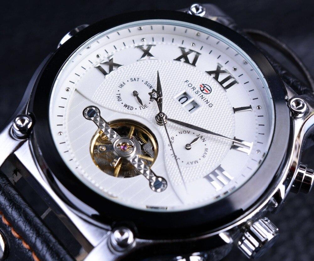 4d6a4056567c9 Forsining اليوم تاريخ شهر عرض أبيض الهاتفي جلد طبيعي حزام الرجال أزياء  الرجال الساعات الفاخرة عارضة الساعات montre أوم