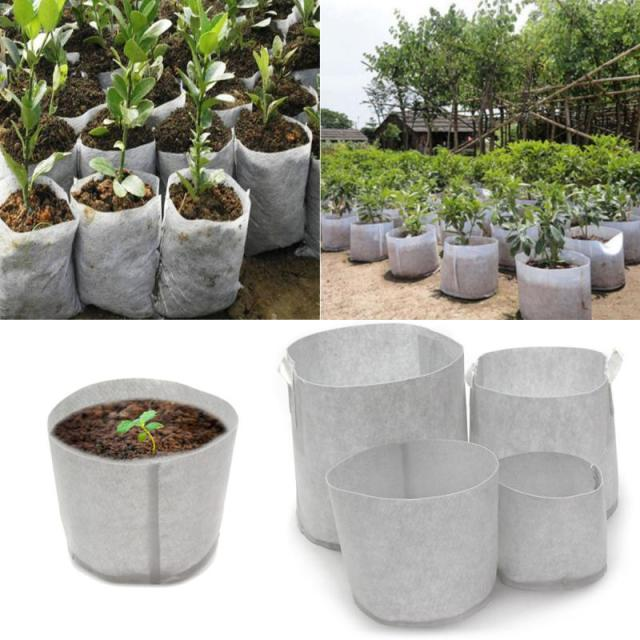 10pcs Large Size Plant Fabric Pots Pouch Root Nursery Seedling Grow Raising Bag Plants