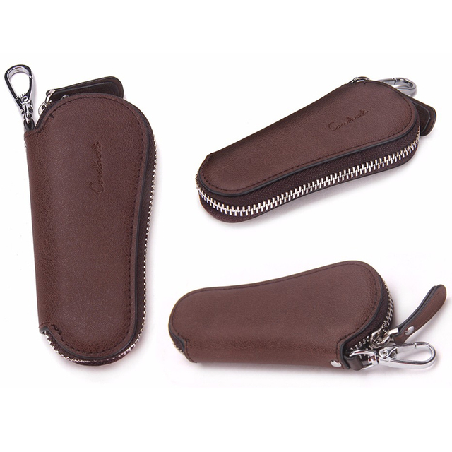 CONTACT'S Men Genuine Cow Leather Bag Car Key Wallets Fashion Women Housekeeper Holders Carteira Keychain Zipper Key Case Pouch 4