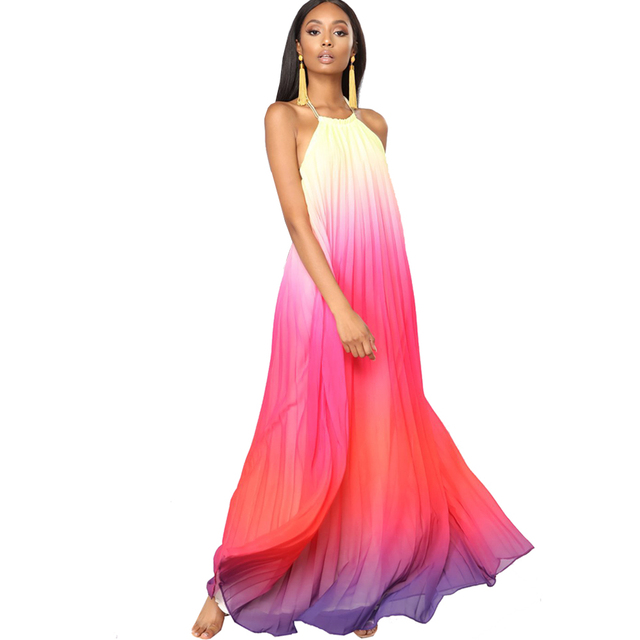 a69b4b5b018 Summer Sexy Maxi Dress Boho Beach Loose Woman Gradient Dress Chiffon Long  Casual Sleeveless Dresses Big