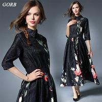 Spring Big Swing Print Elegant Temperament Slim Turn Down Collar British Style Dress European Fashion
